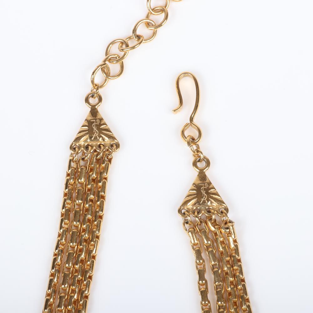 "Yves Saint Laurent YSL designer couture gold tone 4-strand bib necklace with pink enamel triangles, marquise and large teardrop rhinestones, with matching earrings. 17""L, 2 1/2""drop, 2""L (earrings)"