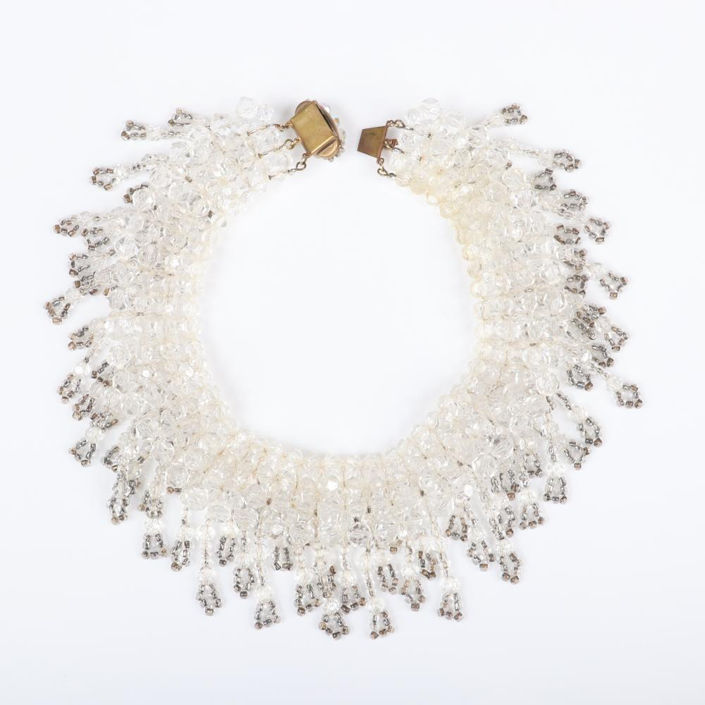 """Unsigned Coppola e Toppo? vintage couture designer cascading collar necklace with colorless crystals and dangling strands of metallic and clear beads. 14 1/2""""L, 2 3/4""""W"""