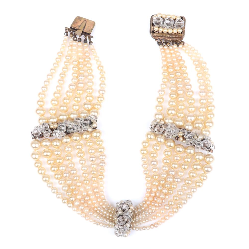 """Coppola E Toppo multi strand graduated faux pearl collar necklace with three stations of faceted crystals and decorative clasp, Made in Italy. 13""""L"""