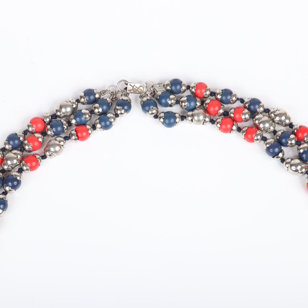 """Yves Saint Laurent YSL vintage haute couture three-strand looping graduated necklace with red and blue composite beads and silver caps. 35""""L"""