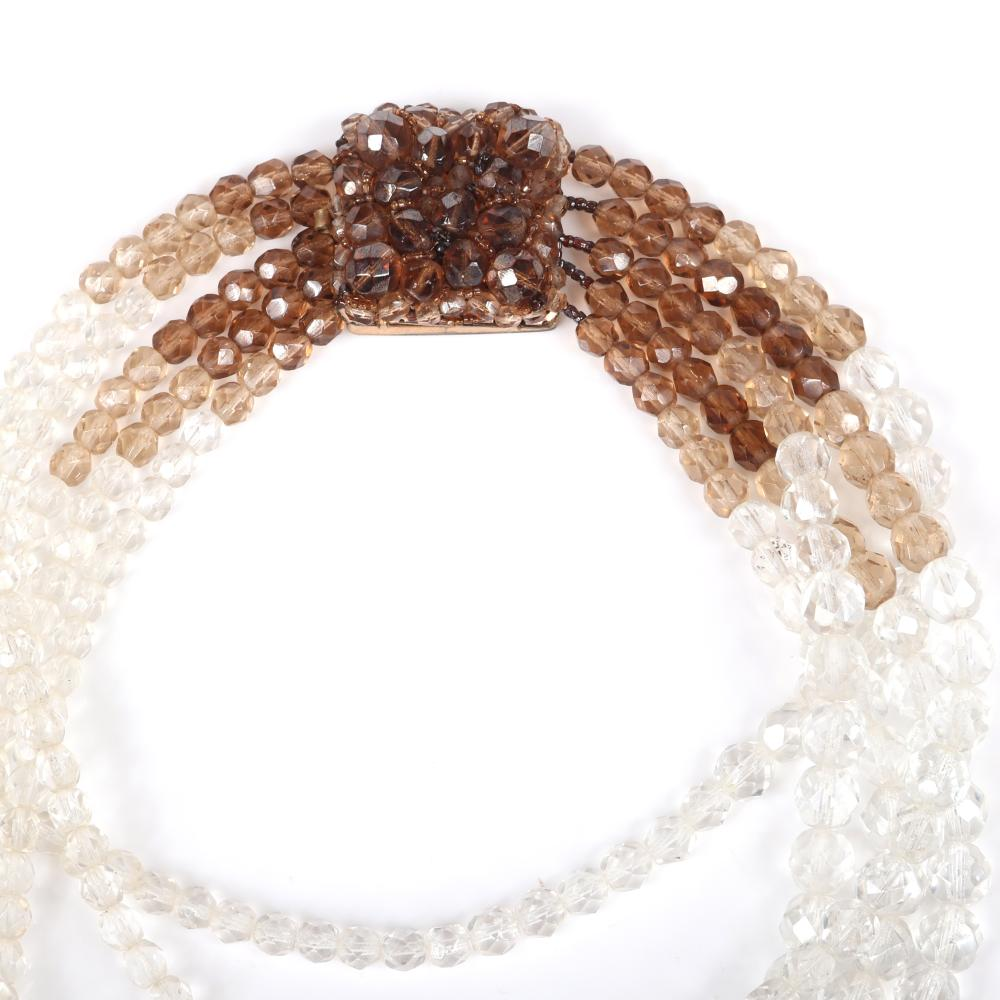 """Coppola E Toppo five-strand ombre amber to clear faceted crystal choker necklace with looping graduated strands, Circa 1960s Signed Made In Italy Coppola E Toppo. 14""""L (shortest srand), 3""""drop"""