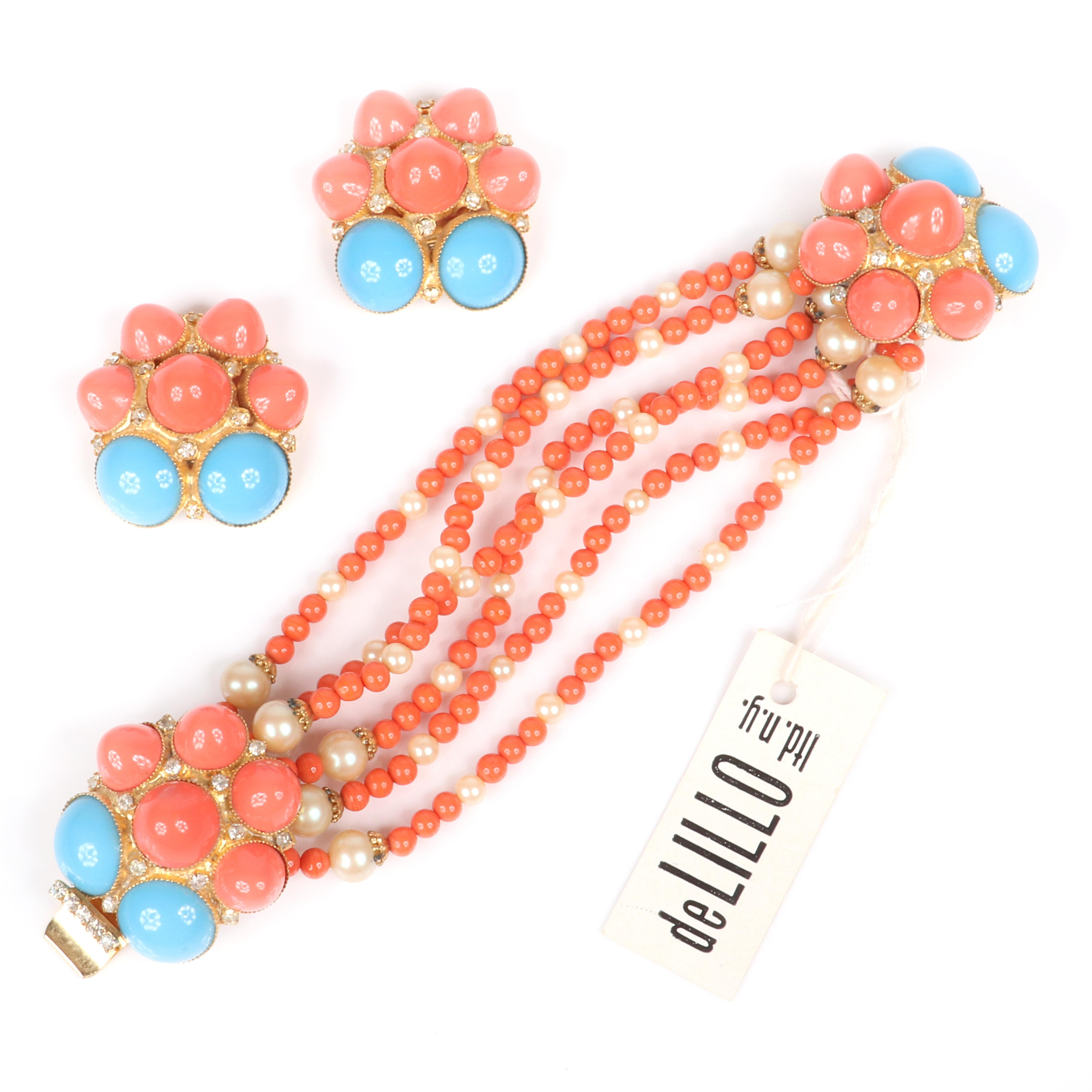 """William DeLillo demi-parure faux coral, turquoise, and pearl six-strand bracelet and earring set with domed cabochons and rhinestone details, with original tag. 7""""L (bracelet), 1 1/2"""" diam. (earrings and clasps)"""