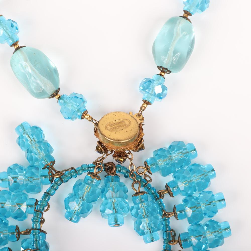 """Miriam Haskell necklace with handmade pale blue glass beads separated faceted aqua bead stations with large open medallion pendant with blue rhinestones and dangling beads. 18""""L, 3 3/4""""H x 2 1/2""""W (pendant)"""
