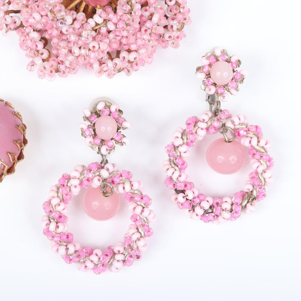 """Miriam Haskell 3pc pink group: layered flower with glass beads and pink center rhinestone, striped dangling hoop earrings, oval button earrings. 2 1/4""""diam (brooch)"""
