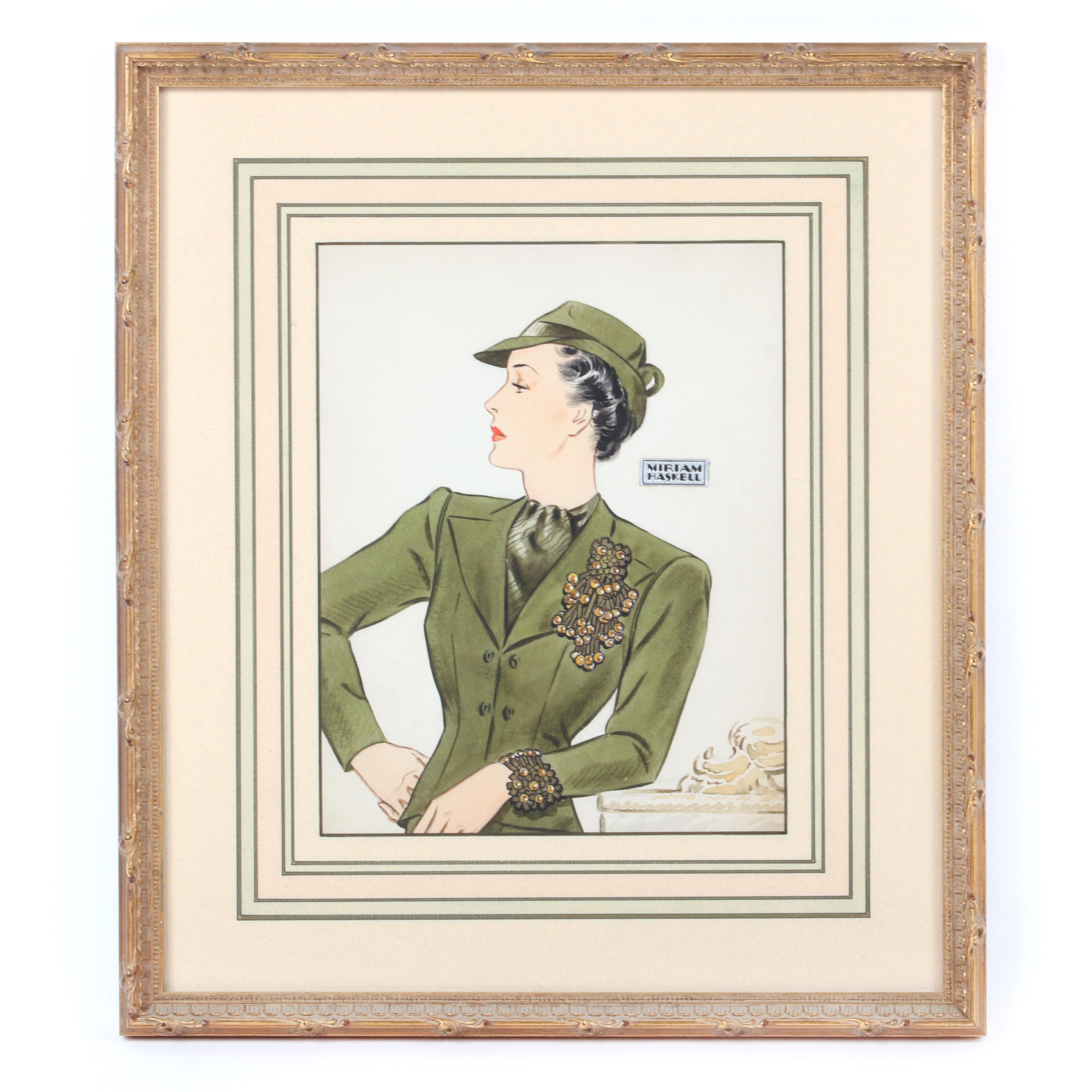 """Miriam Haskell original watercolor Illustration, drawing, advertising, probably by Larry Austin With original foil label, showing green suit and beaded brooch and bracelet. 16""""H x 14""""W (frame), 9 1/2""""H x 7 1/2""""W (site)"""