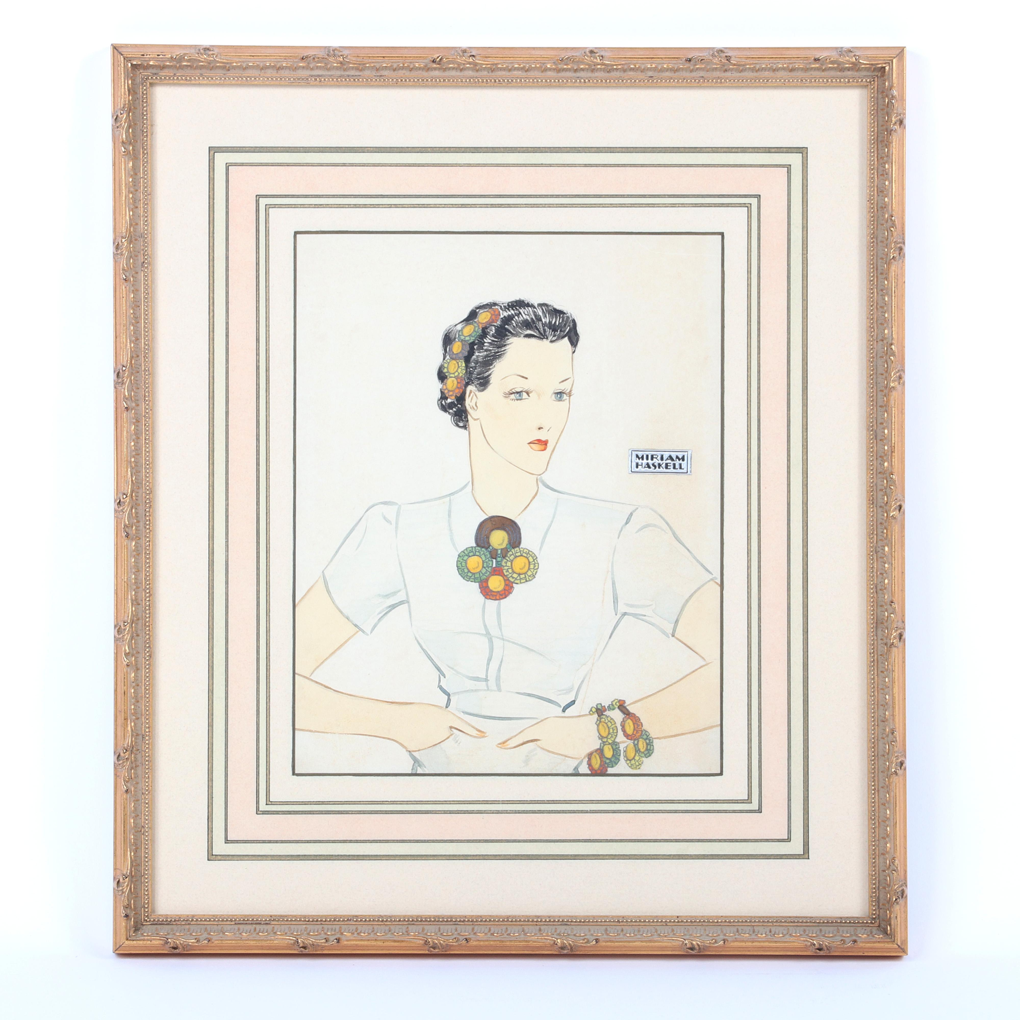 """Miriam Haskell original watercolor Illustration, drawing, advertising, probably by Larry Austin With original foil label, white dress & multicolor beaded brooch, bracelet & hair piece. 16""""H x 14""""W (frame), 9 1/2""""H x 7..."""