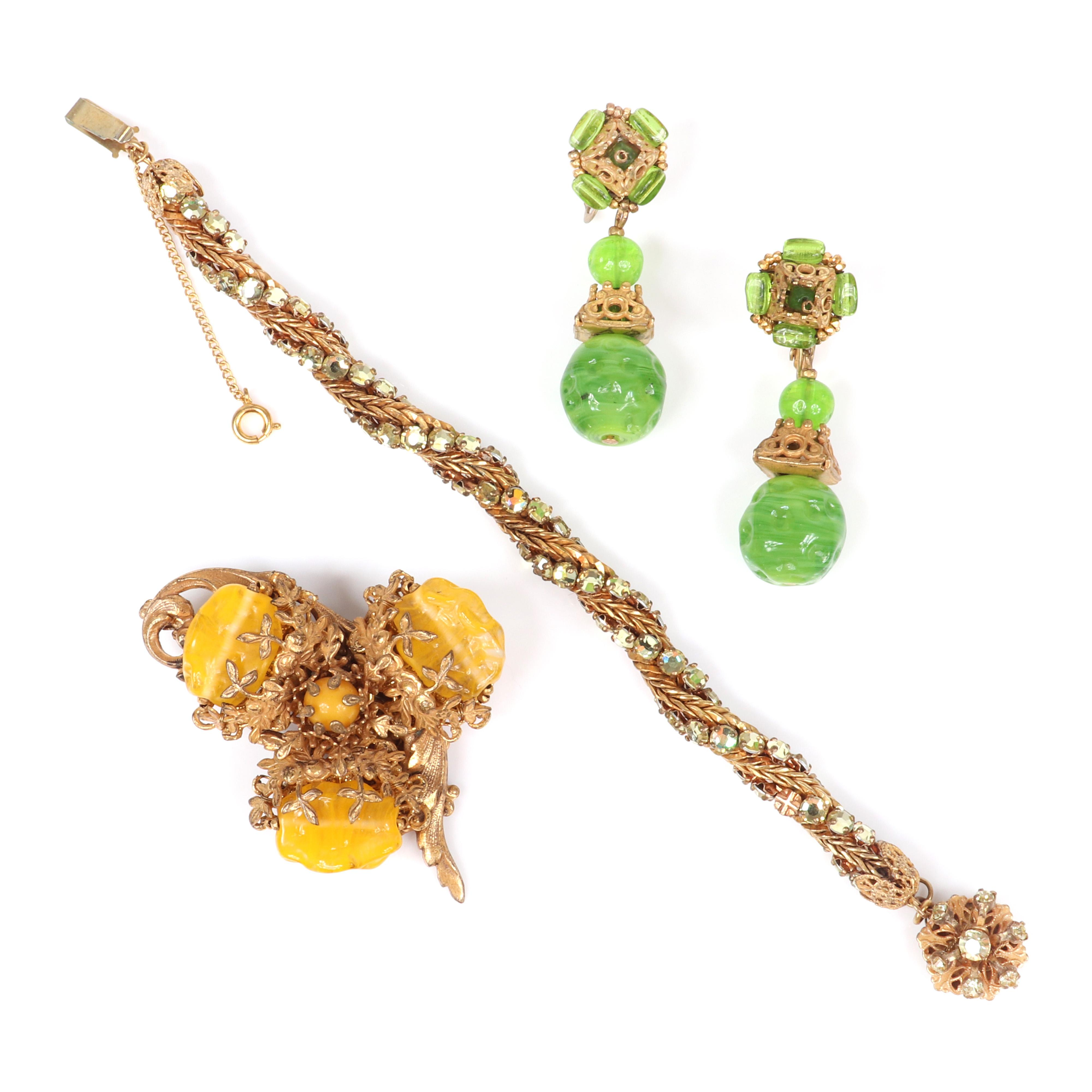 "Miriam Haskell group with twisted chain and citrine rhinestone bracelet, molded marbled glass bead drop earrings and brooch with yellow molded glass beads. 7 1/2""L (bracelet)"