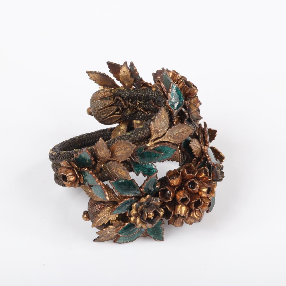 """Miriam Haskell unsigned early gilt brass floral rose cluster double wrap memory wire bracelet with enameled green vining leaf motif. 10""""L"""