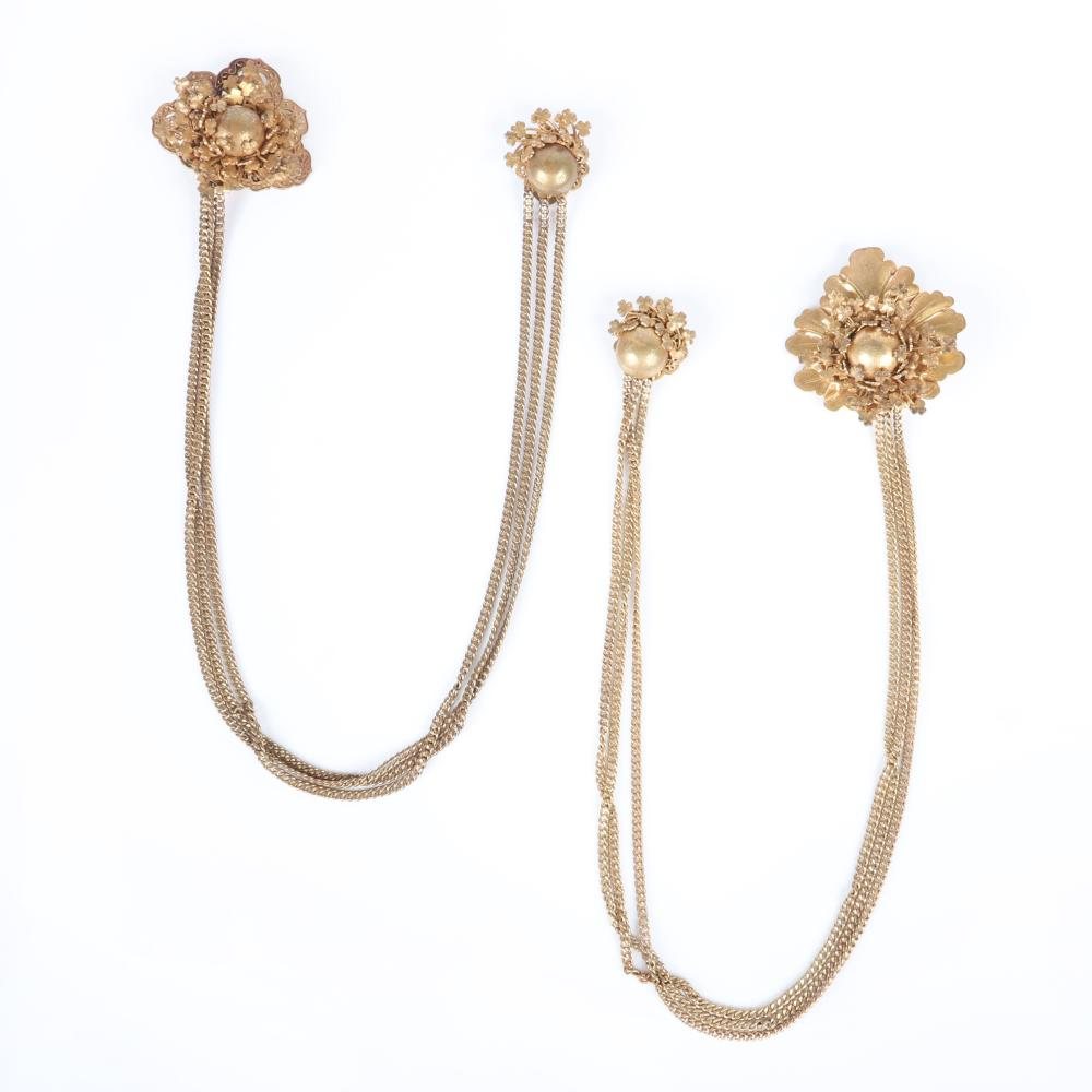 "Miriam Haskell two triple chain brass chatelaine pin clips with vining clover details. 21 1/2""L (each)"