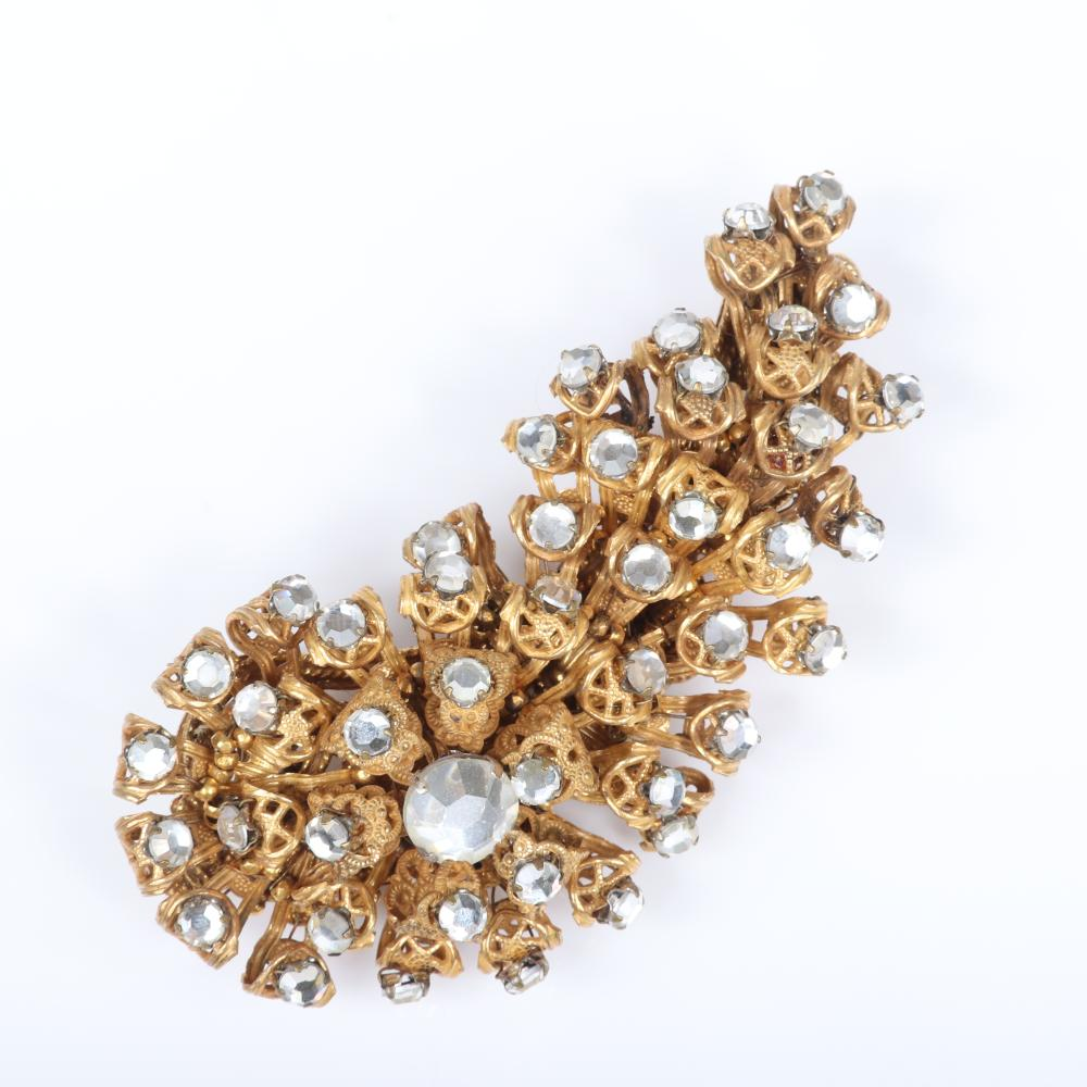 """Miriam Haskell 3pc filigree and rhinestone group: pin encrusted with raised rhinestones, earrings with gold tone clover and huge crystals, button flower earrings. 1 1/2"""" x 3"""""""