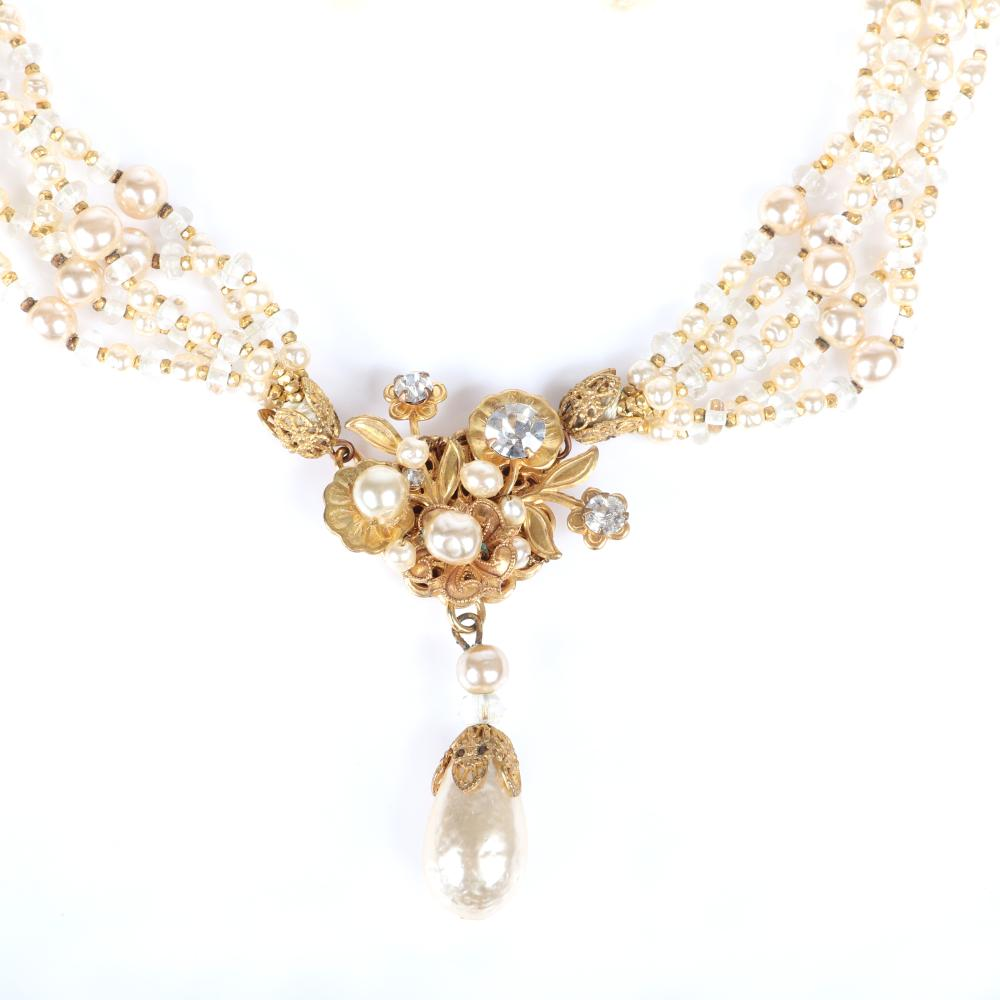 """Miriam Haskell five strand glass and faux pearl necklace rhinestone floral pendant with dangling teardrop pearl with coordinating earrings with marquise crystals and teardrop pearl. 16""""L (necklace), 2""""L (earrings)"""