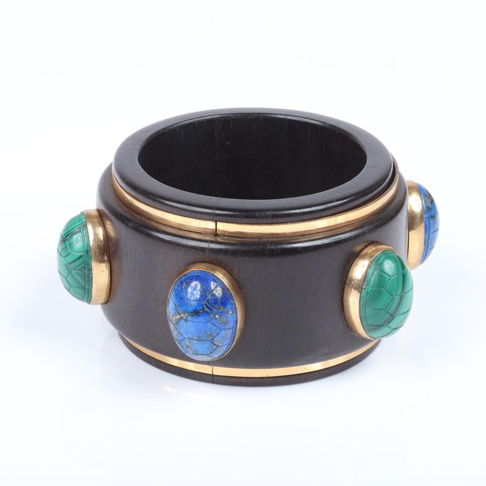 """Isabel Canovas haute couture designer WIDE wooden bangle bracelet with carved turtle back cabochons in malachite and lapis stones framed in brass. 2 1/2""""inner width, 2 1/4""""W"""