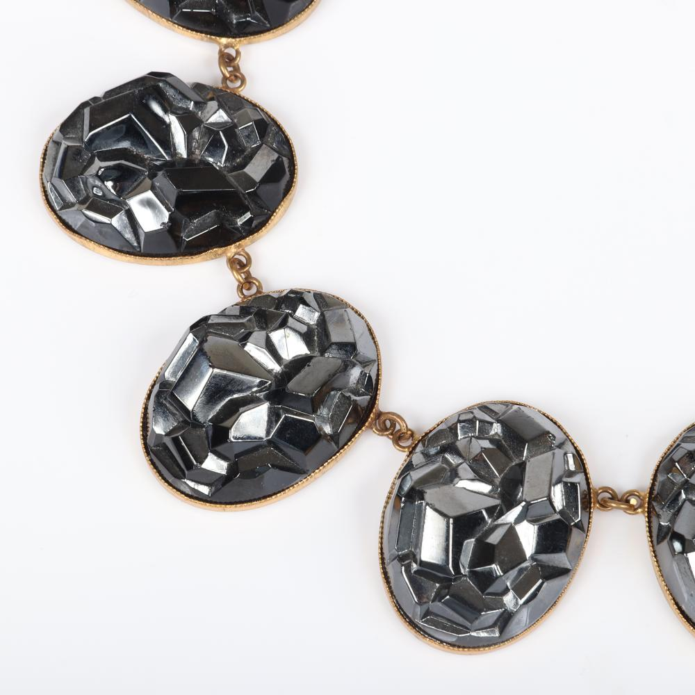 """Yves Saint Laurent YSL vintage designer couture gold tone collar runway medallion station necklace with ten dimensional gunmetal silver 'iceberg' / 'geode' bezel-set cast glass oval forms. 16""""L x 1 5/8""""H (each oval)"""