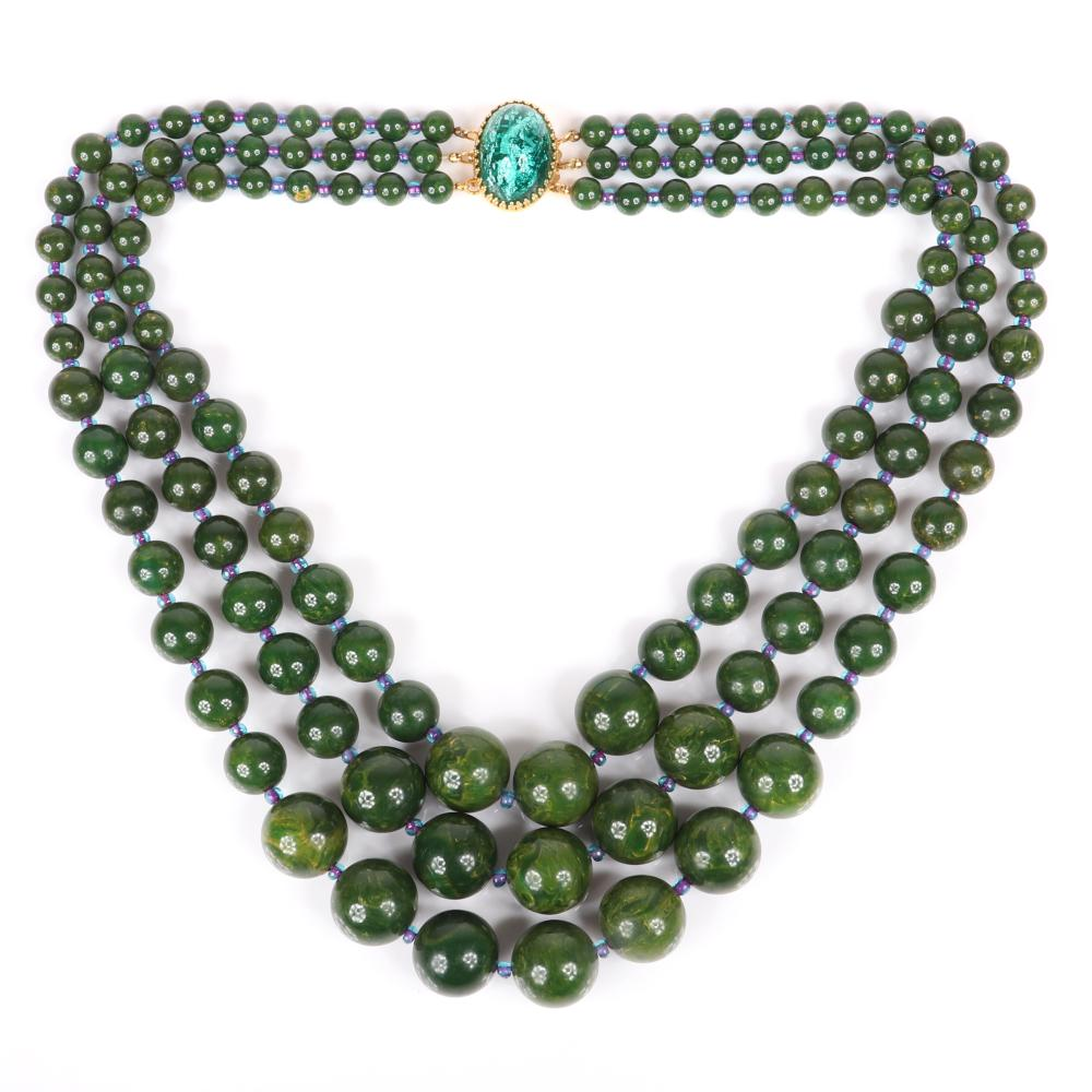 """Hattie Carnegie marbled green creamed spinach Bakelite bead graduated 3-strand necklace with iridescent purple glass bead stations and matching earrings. 21""""L"""