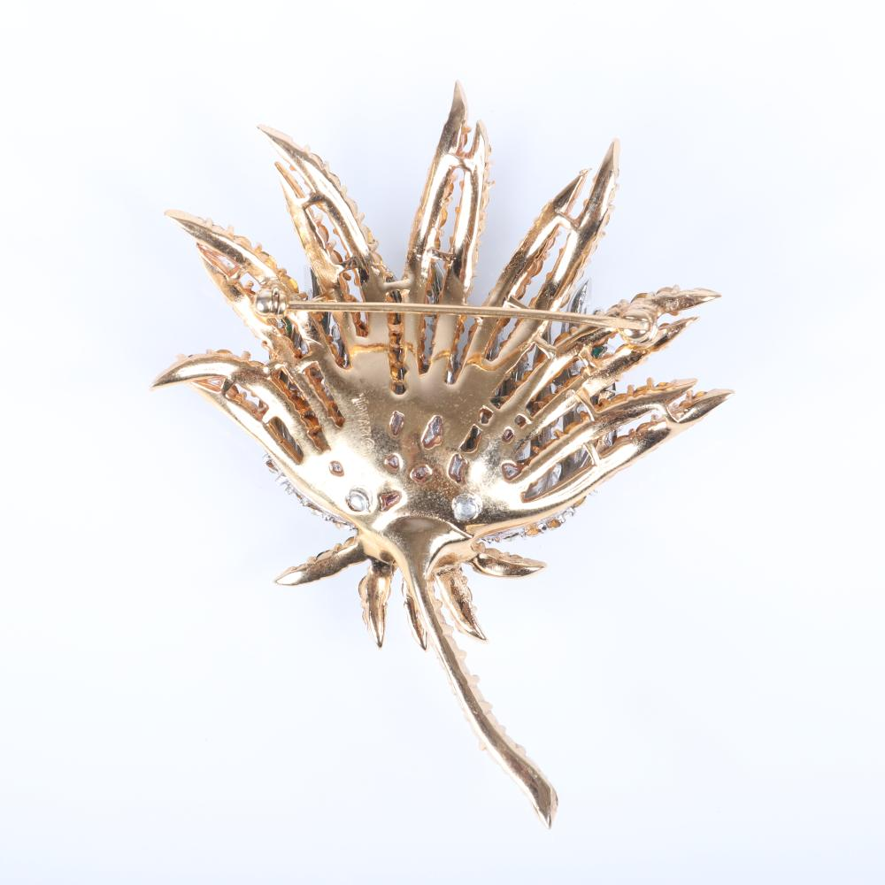 """Trifari 'Alfred Philippe' diamante dimensional thistle flower pin brooch with rows of emerald and colorless rhinestones. 3""""H x 2 1/2""""W"""