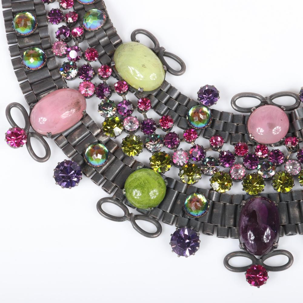 "Countess Cissy Zoltowska (CIS) massive couture Egyptian collar bib necklace with gunmetal silver tone tube chain setting, purple, green, pink, watermelon, and fuchsia glass cabochon jewels and rhinestones, ca. 1960s 15""L"