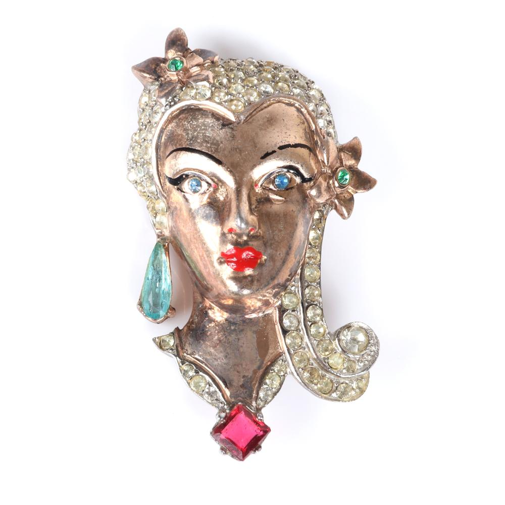 """Sterling rose gold vermeil figural female face pin with pave, crystal and enamel details and delicate hand earrings with rhinestone details and red enamel fingernails. 2""""H (brooch)"""