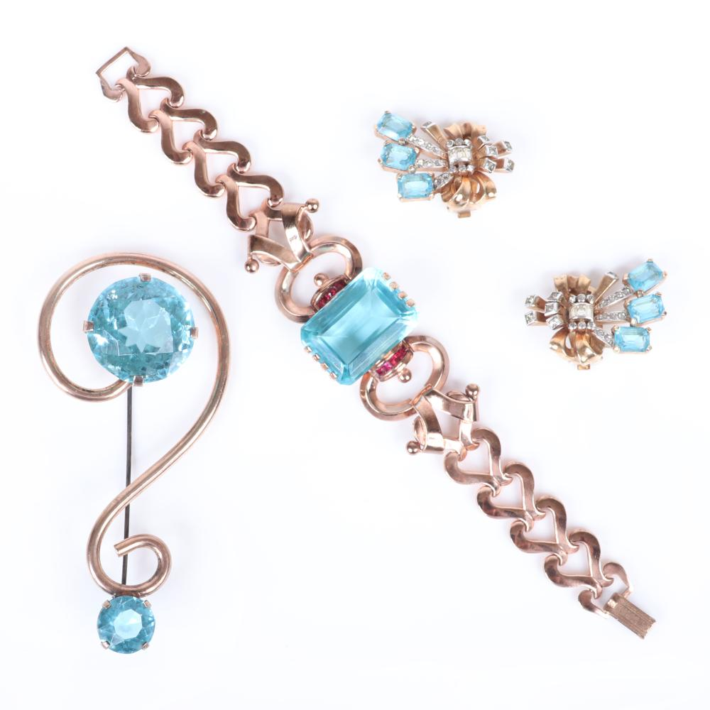 """Vintage sterling vermeil and aqua crystal 3pc RETRO jewelry; Coro link bracelet with huge central blue crystal, Mazer floral spray pave earrings & pin with two faceted round crystals. 7""""L (bracelet), 1 1/4""""H (earrings..."""