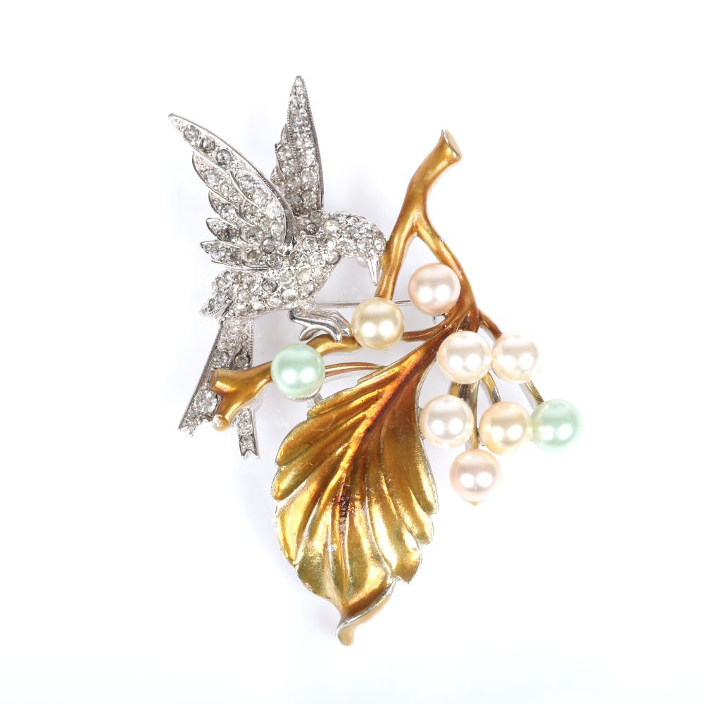 """Pennino bird on a berry branch pin brooch with pave rhinestones, enamel and multicolor faux pearls and coordinating Swoboda earrings. 2 3/4""""H (pin)"""