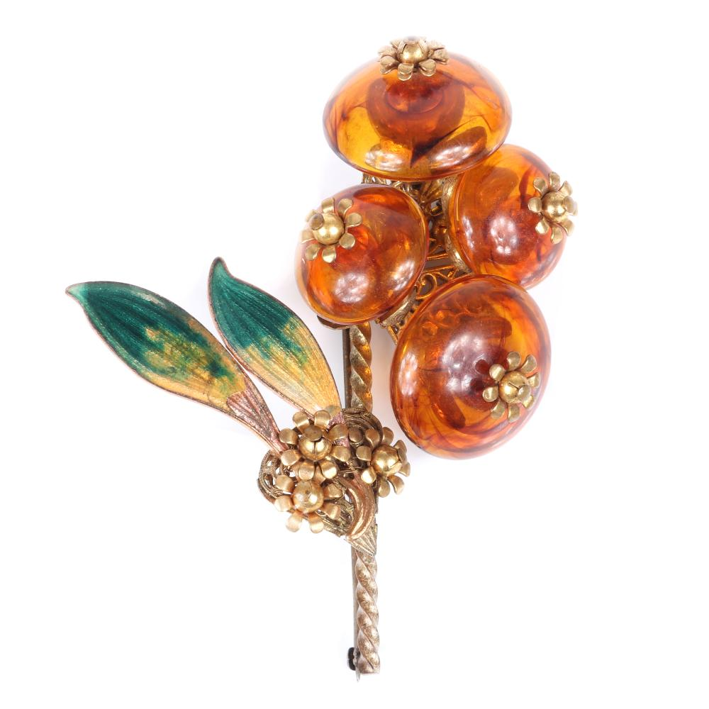 """Miriam Haskell HUGE early floral spray brooch with apple juice Bakelite button flowers and enamel leaves, with horseshoe mark. 3 3/4""""H x 3""""W"""