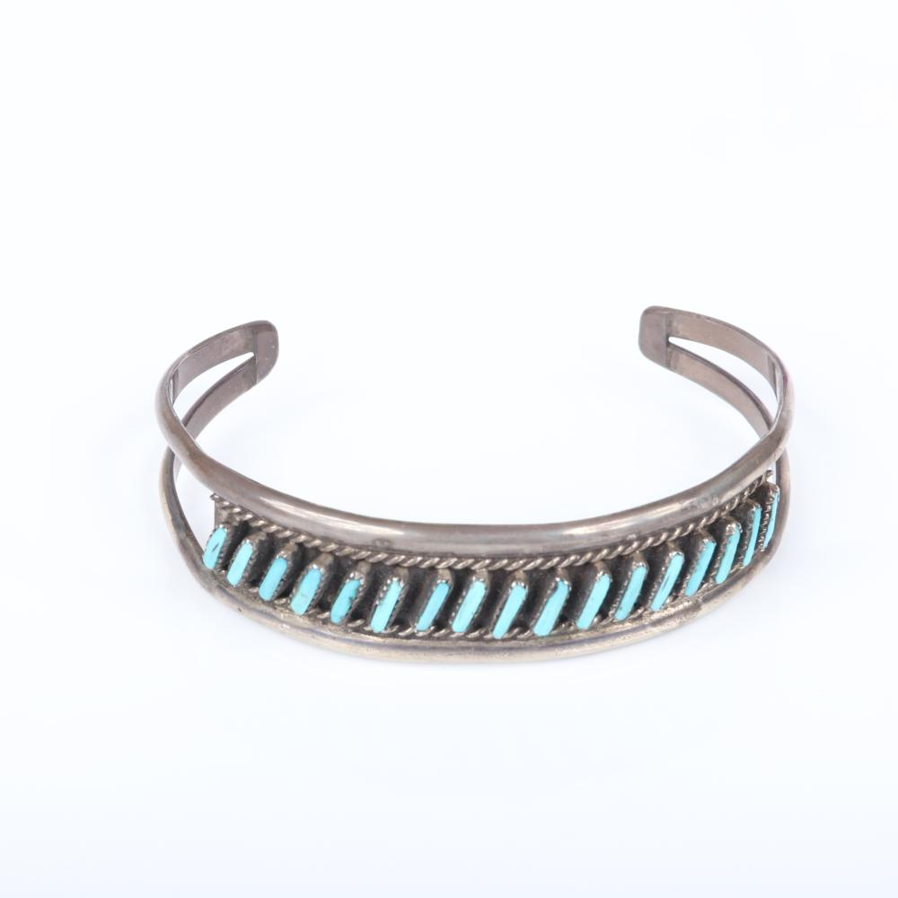 """Native American Indian sterling and turquoise 3pc group: bangle bracelet with angled lines of turquoise, large M. D. Besselente ring with flower inlay, inlaid triangular earrings. 2 1/4"""" inner width bracelet"""