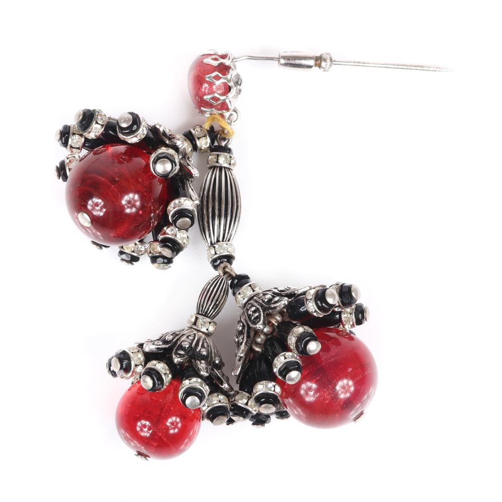 """Schiaparelli vintage hat stick pin with three dangling amber glass balls capped in silver flowers with rondelles and black glass beads. 3""""H"""