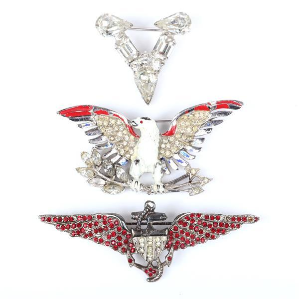 WWII 1940s patriotic jewelry 3pc., V victory diamante pin, two figural brooches; eagle with pave and enamel and winged naval insignia with red jewels.