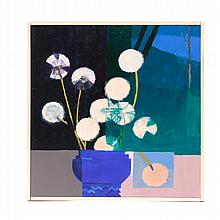 "Kelly Jordan, (American; 21st Century), Still life with Dandelions, acrylic on wood panel, Image: 11 7/8"" H x 11 3/4"" W, Total: 12 1..."
