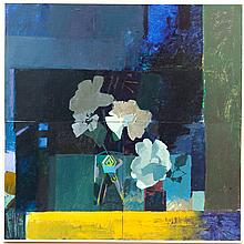 """Kelly Jordan, (American; 21st Century), Abstract Still Life with Flowers, acrylic on wood panel, Image: 23 3/4"""" H x 23 3/4"""" W, Total..."""