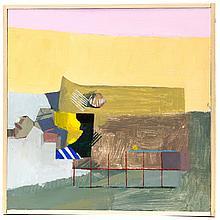 "Kelly Jordan, (American; 21st Century), Abstract Beach, Acrylic on wood panel, Image: 11 3/4"" H x 11 7/8"" W, Total: 12 3/8"" H x 12 1..."