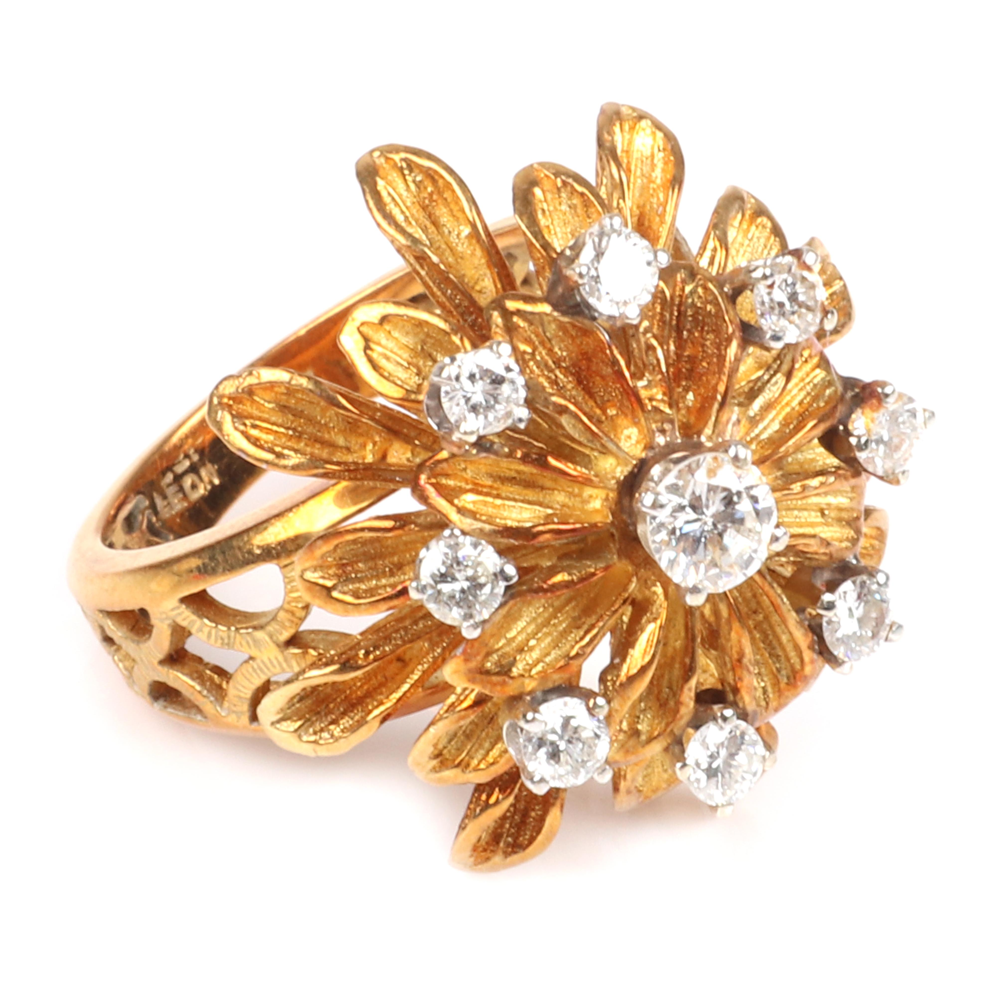 Leon Jewelry 18K rose gold diamond vintage flower starburst ring with layered petal design and lattice openwork band. RIng size 7, 7.15 dwt