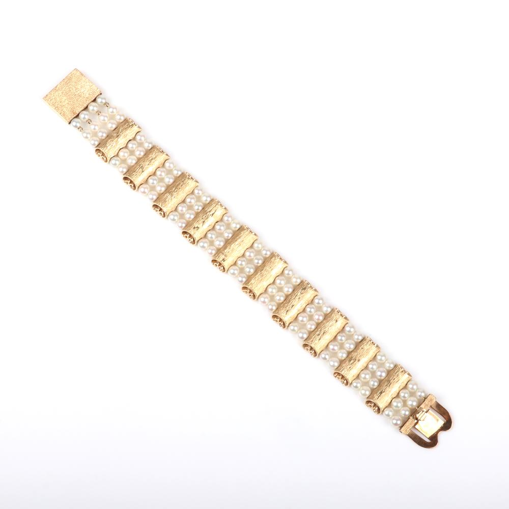 """Lucien Piccard vintage couture designer stamped 14K yellow gold and pearl bracelet in box with original tag. 7 1/2""""L, 22.00 dwt."""