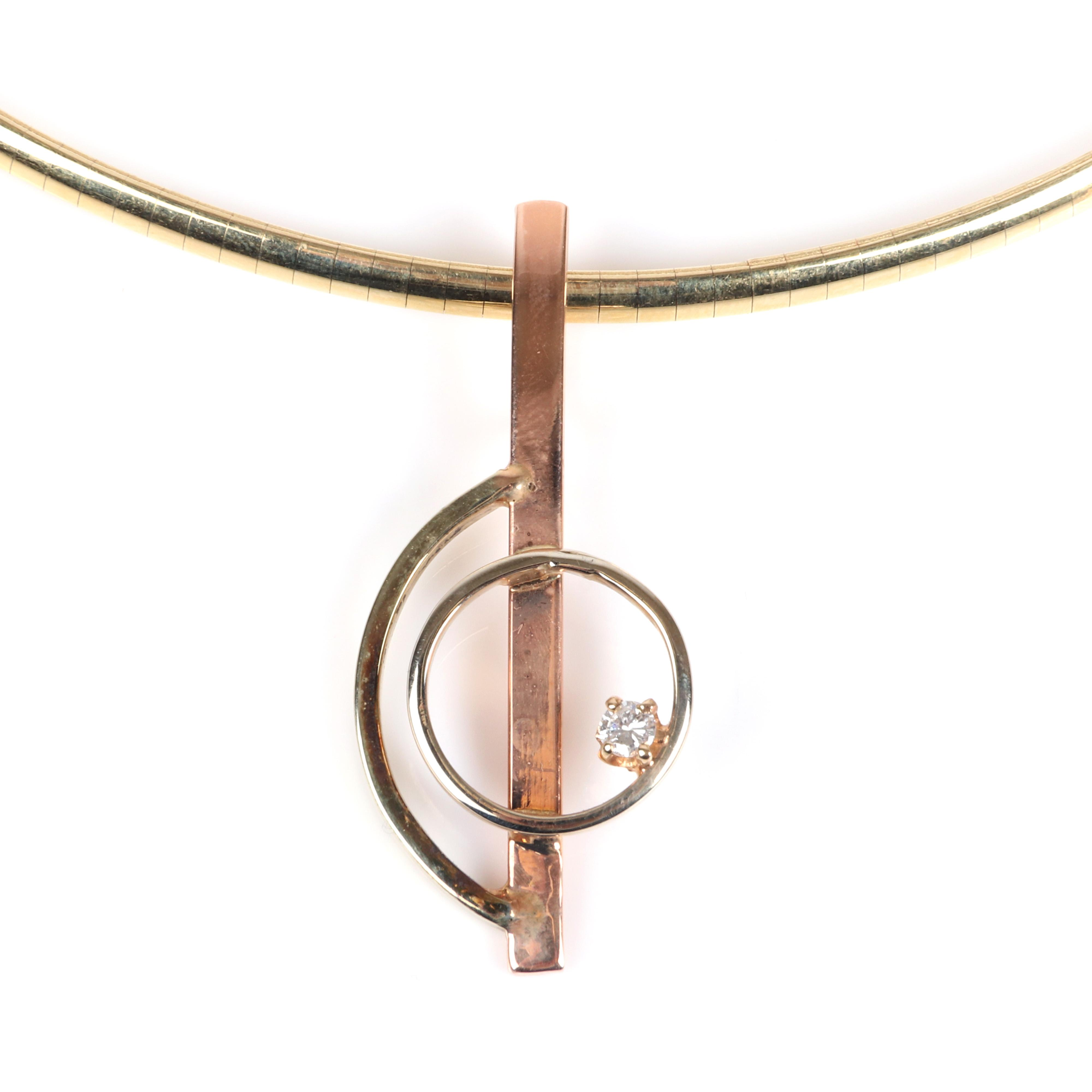"Stamped 14K rose and yellow gold and diamond minimalist geometric pendant on 14K 3mm omega choker necklace. 16""L , 1 3/4""H x 1""W (pendant) 13.80 dwt."