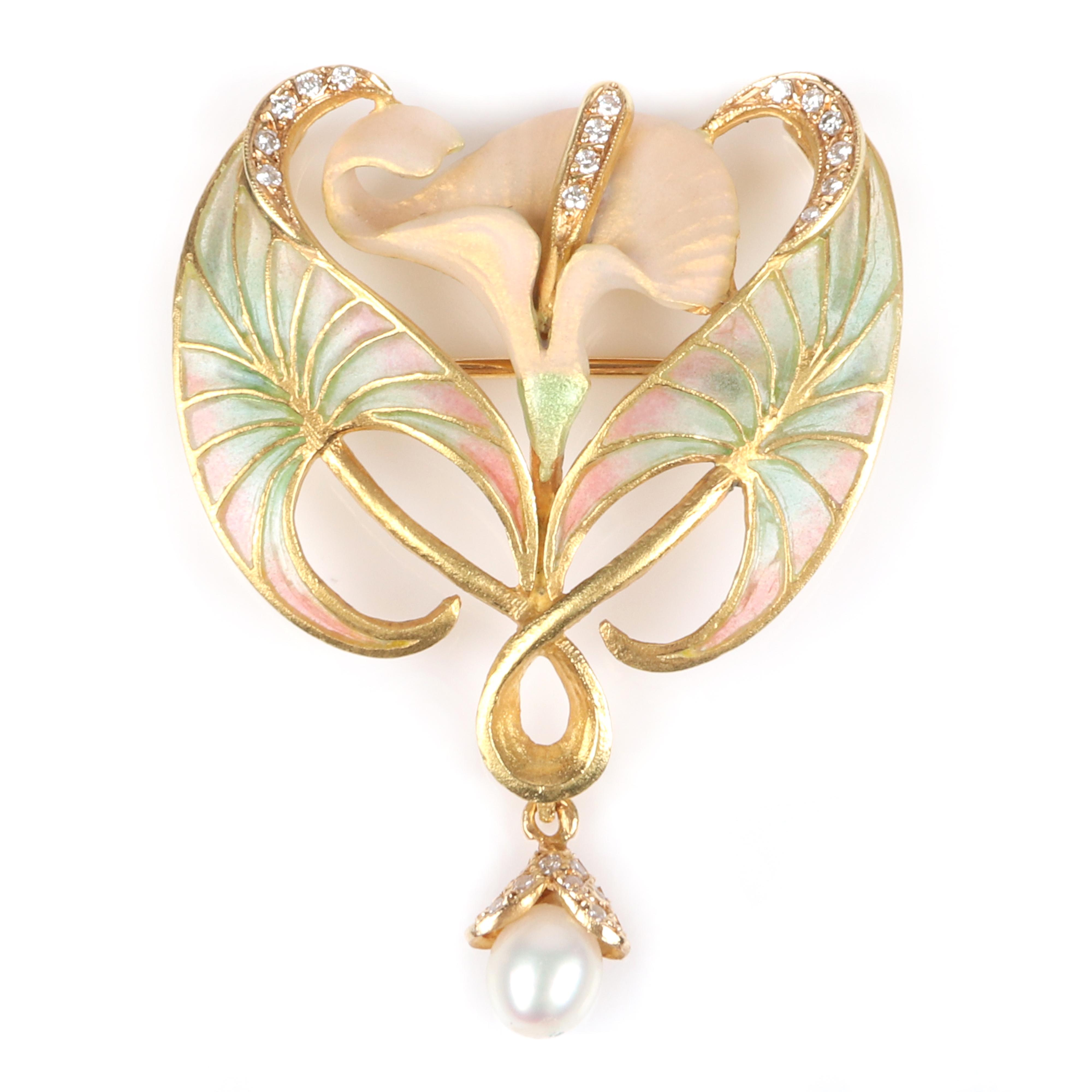 "Masriera 18K yellow gold and diamond plique-a-jour Art Nouveau style lily flower pin pendant with drop pearl. 2"" x 1 1/4"" 5.45 dwt"