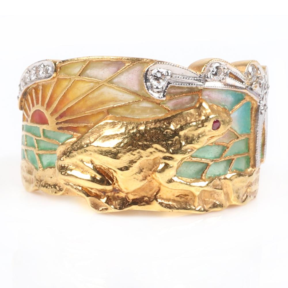 Masriera stamped 750 18K yellow gold and diamond plique-a-jour band ring with scenic frog sunset design in relief. Size 6 1/4, 7.00 dwt