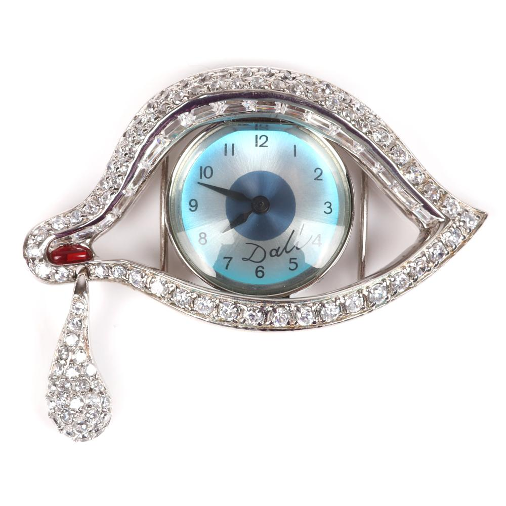 "Salvador Dali 'Eye of Time' brooch pendant watch, Joies 2003 limited edition with box and pamphlet. 1 1/2""H x 2 1/4""W"