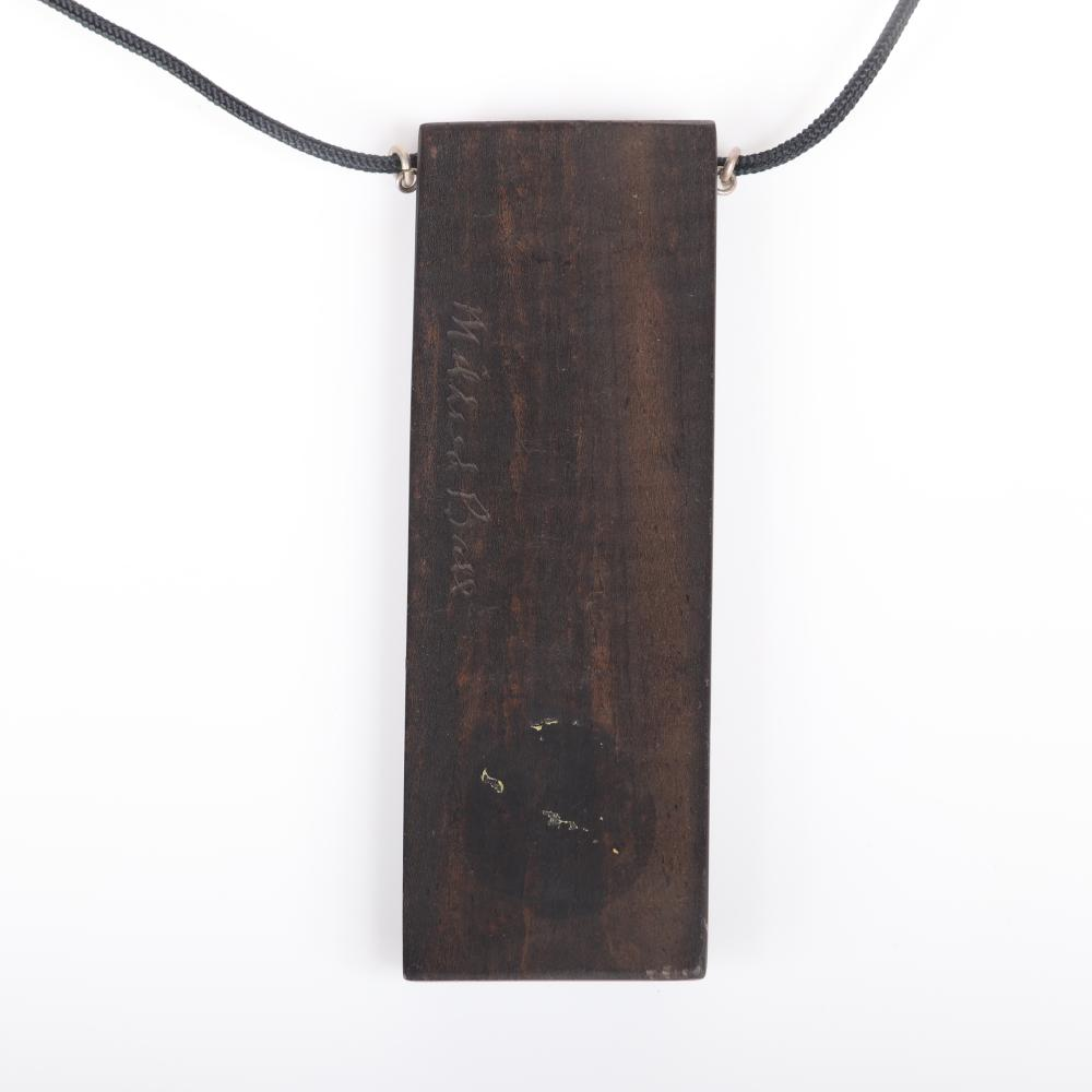 "Mildred Ball American Modernist large wood pendant with inlaid blue and green enamel diamond shaped panel on black cord. 21""L (necklace), 3 1/2""H x 1 1/4""W (pendant)"