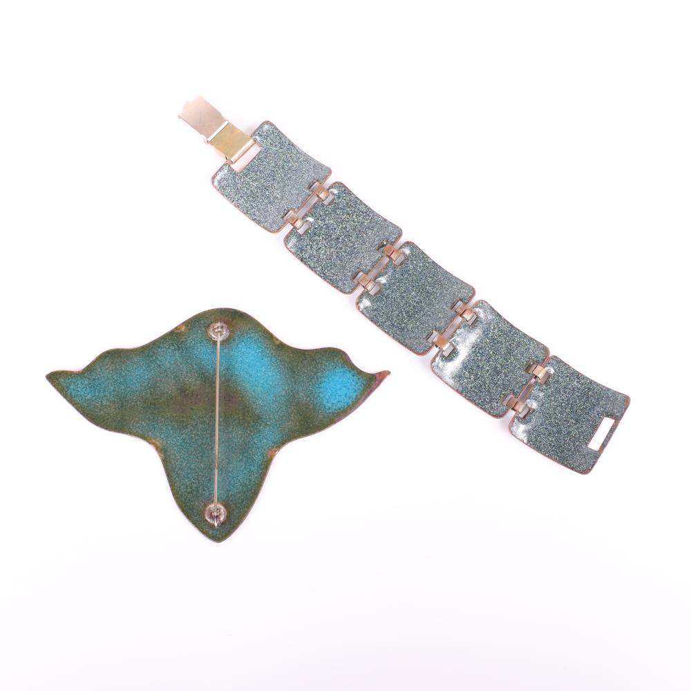 """Mildred Ball American Modernist blue and green swirl enamel bracelet with five square linked panels and coordinating HUGE abstract form pin. 7""""L x 1 1/2""""W (bracelet), 3 1/2""""H x 5""""W (brooch)"""