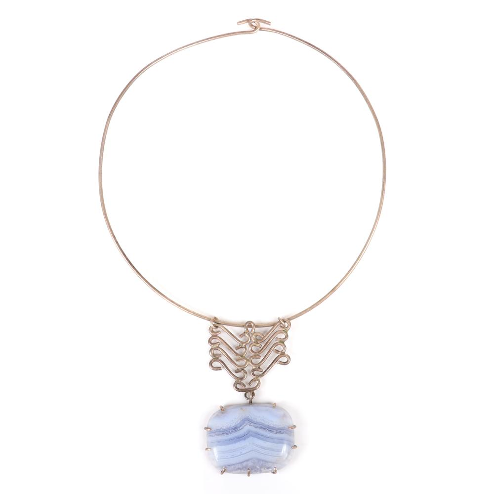 """Mildred Ball American Modernist wire choker necklace and pendant with wire scrolls and large blue lace agate drop. 4 1/2"""" inner width (choker), 2 3/4""""H (pendant drop)"""