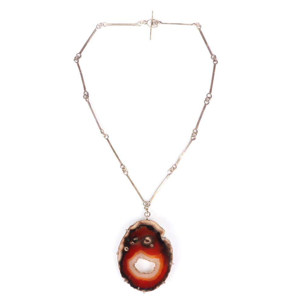 "Mildred Ball American Modernist sterling silver necklace with large raw edge agate pendant with handmade bar and link chain with toggle clasp. 18""L, 2 3/4""H x 1 3/4""W (pendant)"