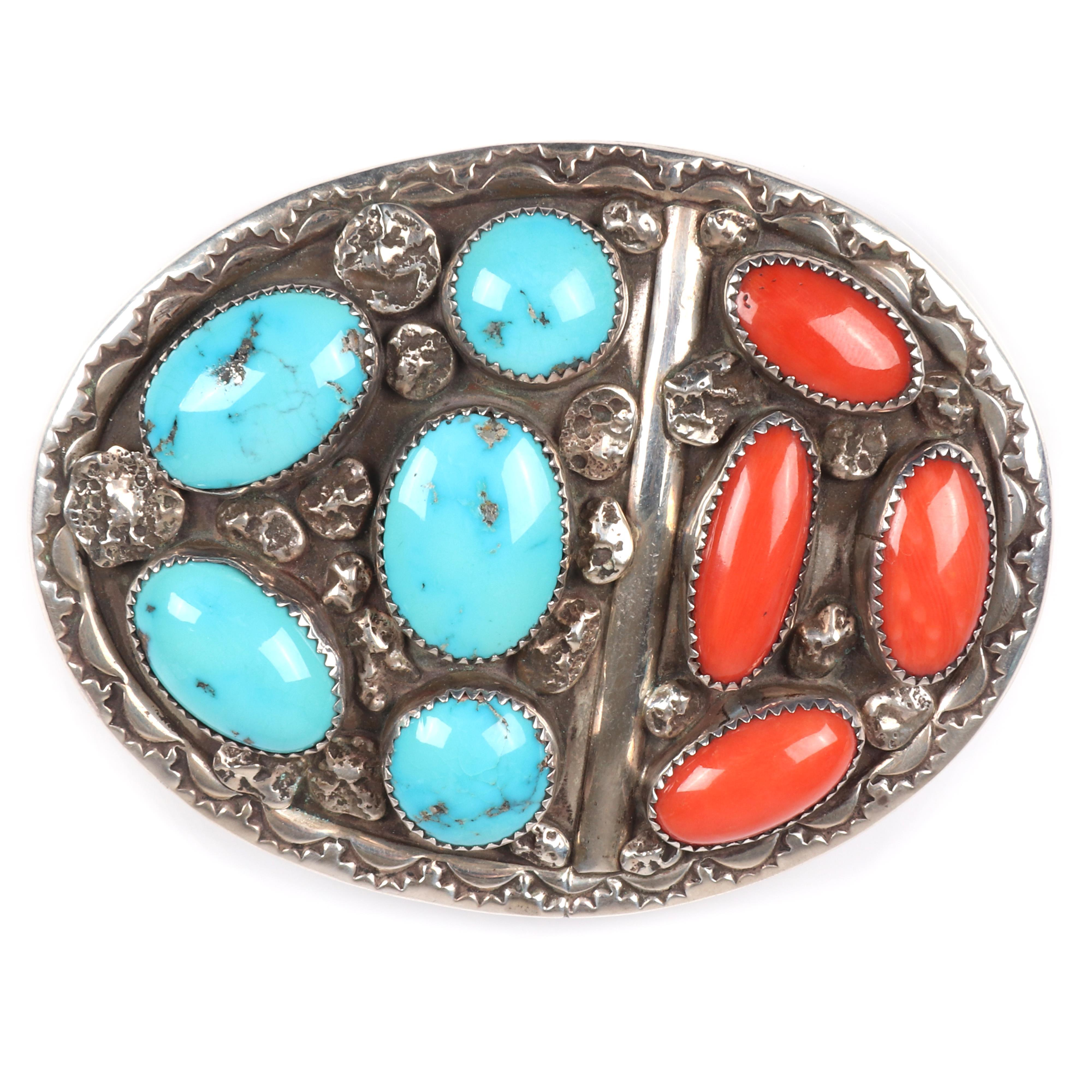 """Vintage Navajo Native American sterling silver belt buckle with large polished turquoise and red coral cabochons and stamped metal work and overlay, inscribed J. S. Navajo. 3 1/4""""H x 2 3/4""""W"""