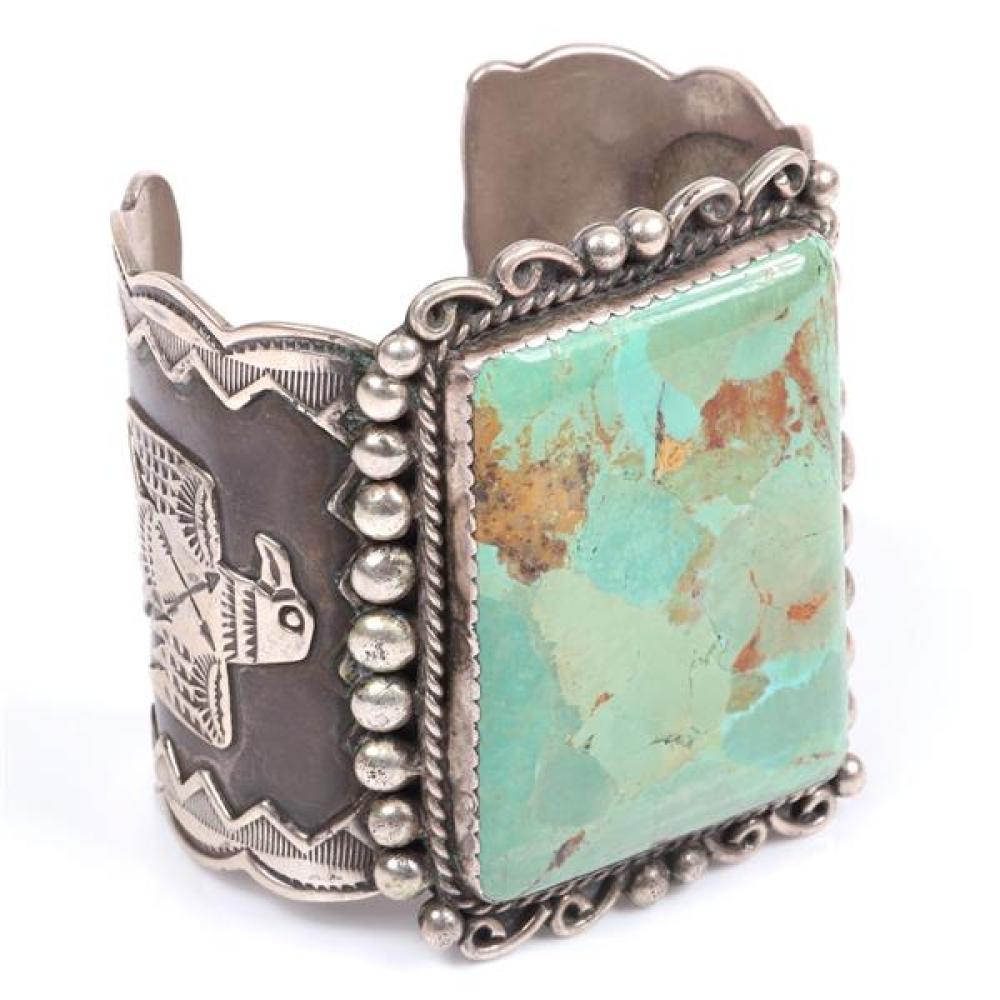 "Albert Cleveland Navajo Indian signed GIANT vintage Native American sterling silver and turquoise Masterpiece cuff bracelet with stamped eagle Thunderbird design and applied detailing. 2 3/4""W x 2 3/4"" Inner daim."
