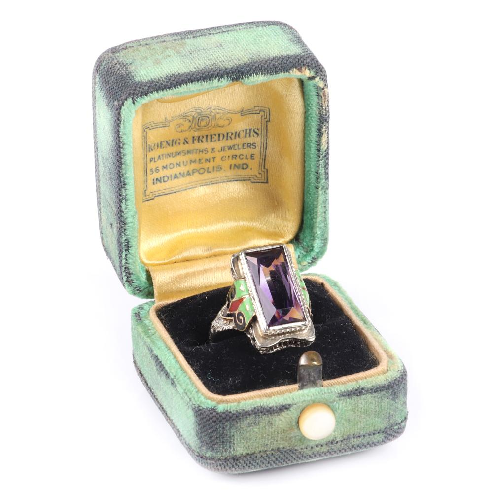 Art Deco 1920s Egyptian Revival era rectangle cut amethyst ring in enameled 14K ornate white gold filigree mount. 2.45 dwt.RIng Size 4 1/4