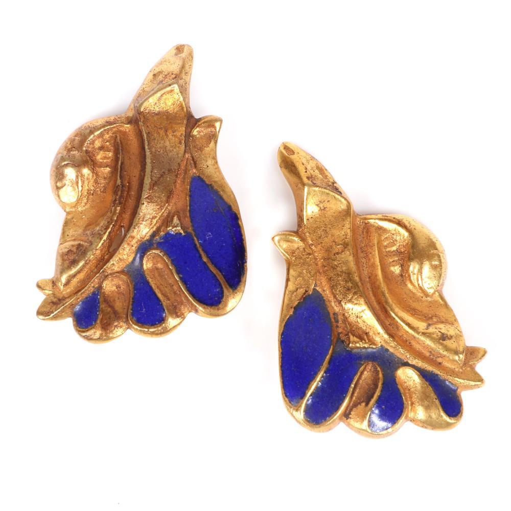 "Line Vautrine designer gilt bronze artisan made organic form earrings with blue enamel details. 1 3/8""H x 1""W"