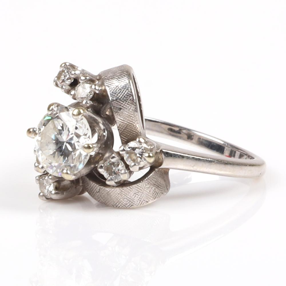 Vintage retro floral 14K white gold wedding Art Deco engagement ring with 1ct. G/VS1 diamond, 1930s. RIng size 6