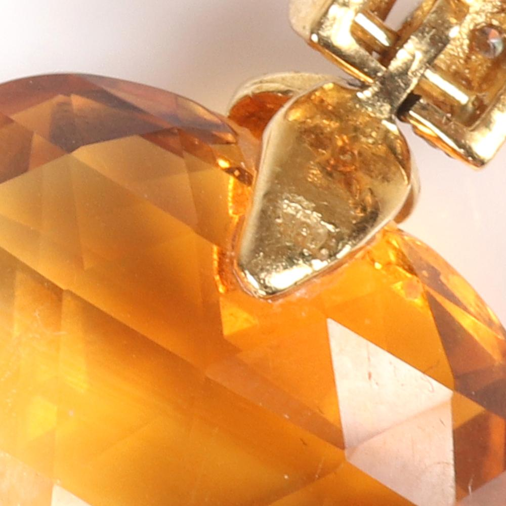 """Designer briolette heart cut Citrine 18K yellow gold drop earrings with sapphire and ruby accents. 1 3/4""""H"""