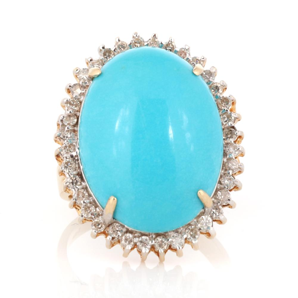Sleeping Beauty turquoise and diamond 14K yellow gold ring. Ring size 6 3/4