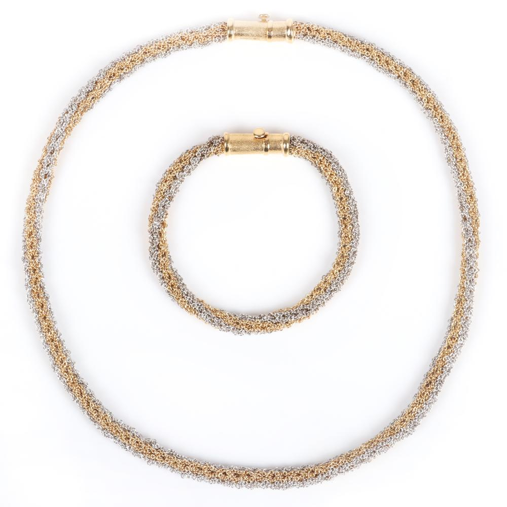 """A. Halberstadts stamped 750 18K yellow and white gold 44.15dwt chainmail mesh chain Necklace and bracelet set with heavy textured yellow gold barrel clasp. 17""""L (necklace), 7""""L (bracelet) 44.15 dwt"""