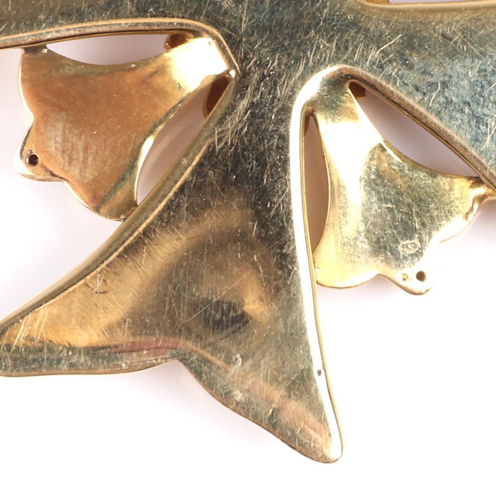 "Topazio 18K yellow gold 10.70 dwt enamel and diamond Maltese cross pendant with Portugal / Lisbon elk head 800 assay, 19.2K yellow gold. 2 1/4""L, 10.70 dwt"