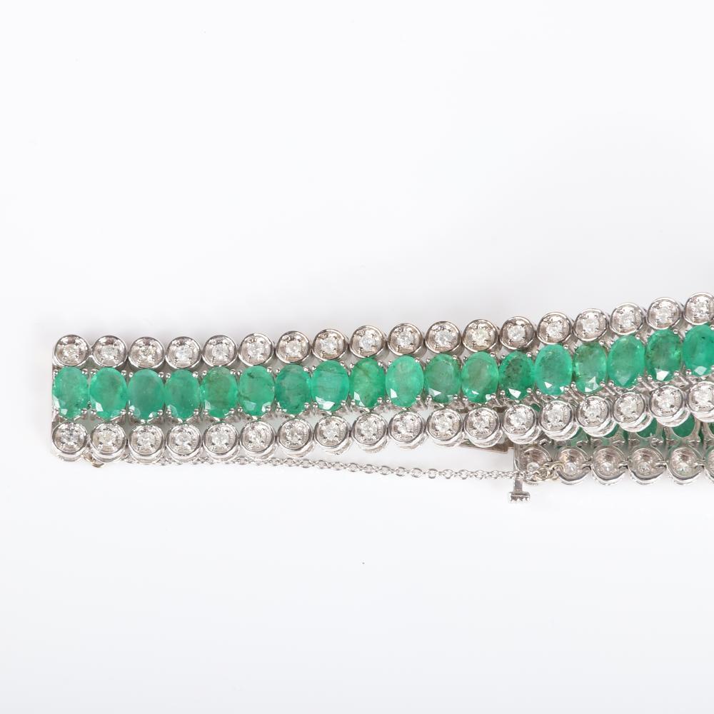 "Genuine emerald and diamond 14K white gold three row cuff bracelet. 7 1/2""L x 3/4""W"